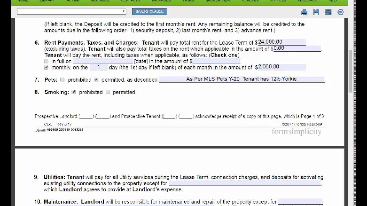 How To Complete And Fill Out A Florida Far Bar Cl 5 Contract To Lease