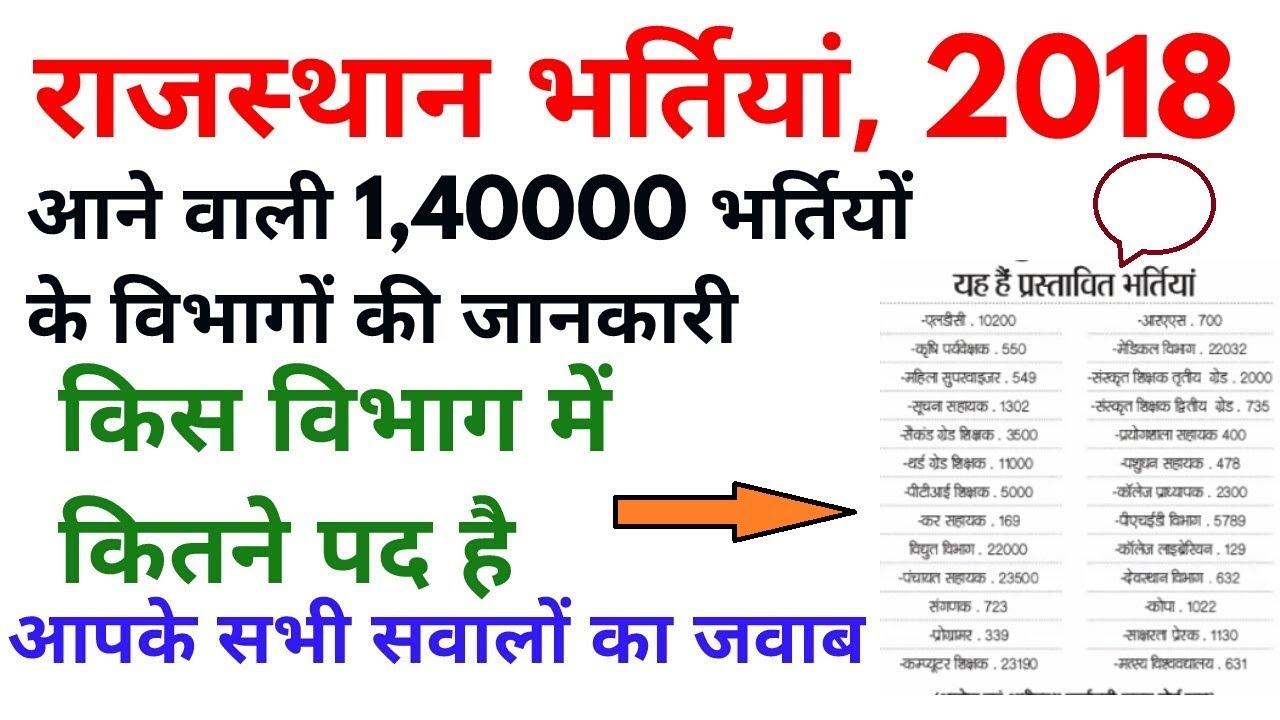 Rajasthan recruitment 2018 | आने वाली 1,40000 भर्तियो के विभाग वर्गीकरण |  govt jobs in rajasthan