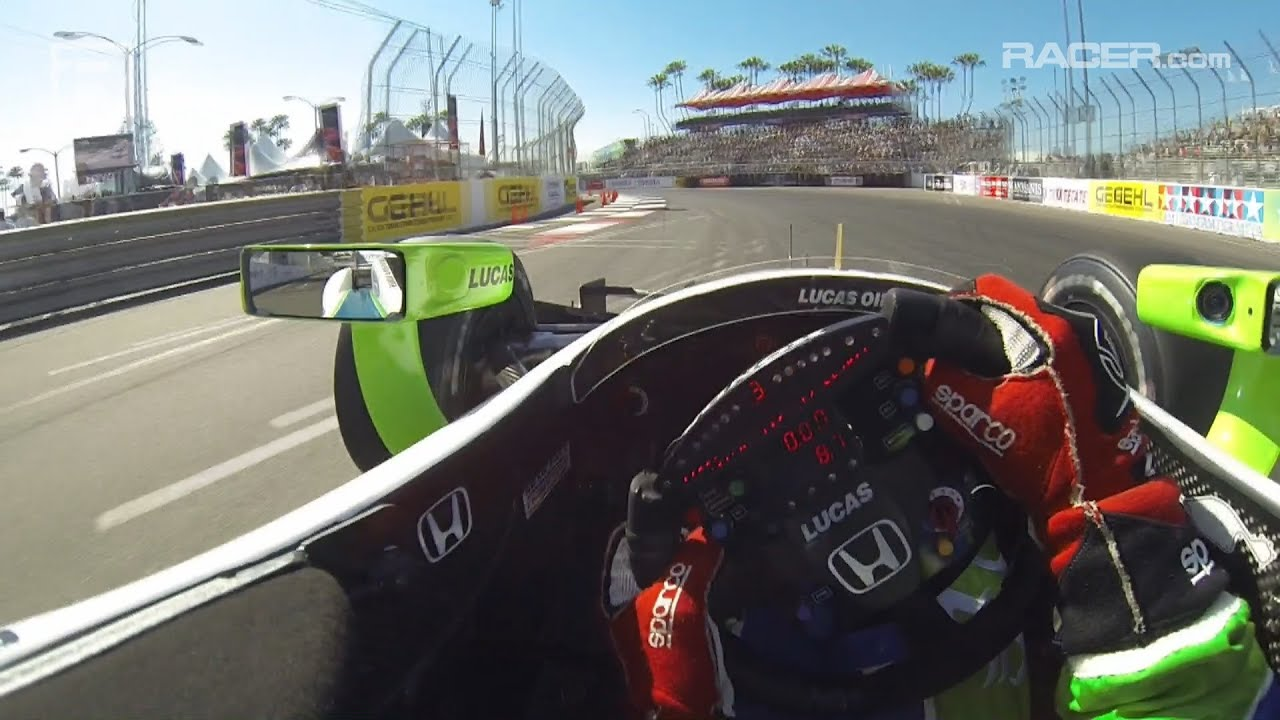 RACER Simon Pagenaud IndyCar Long Beach Visor Cam 2014  YouTube