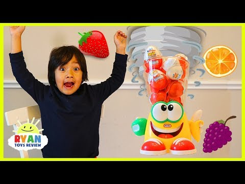 Ryan Plays Crazy Blender Game With Kinder Surprise Eggs