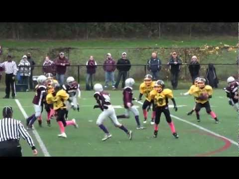 Interception by Jake Poindexter Central Square beats Clay for Jr Pee Wee Playoff Championship