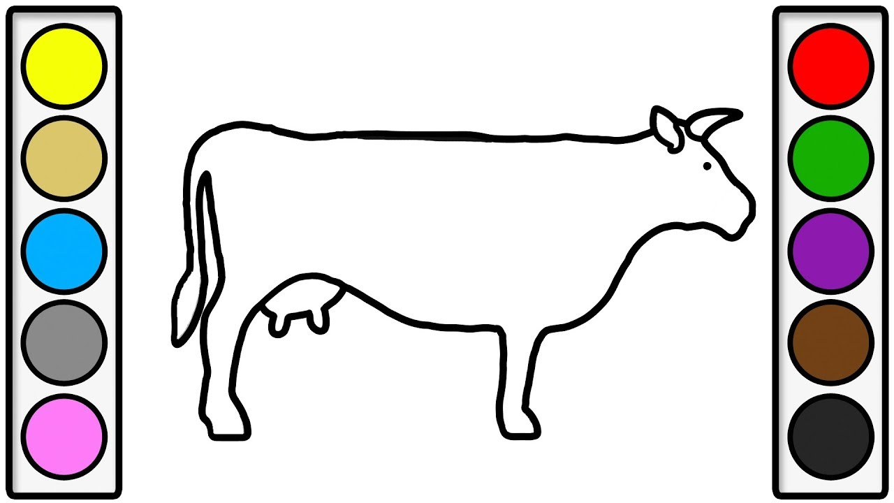 Coloring page for kids with big cow colouring book for children