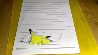 Pokemon, drawing pikachu 3d speed drawing, darwing 3d line paper pikachu