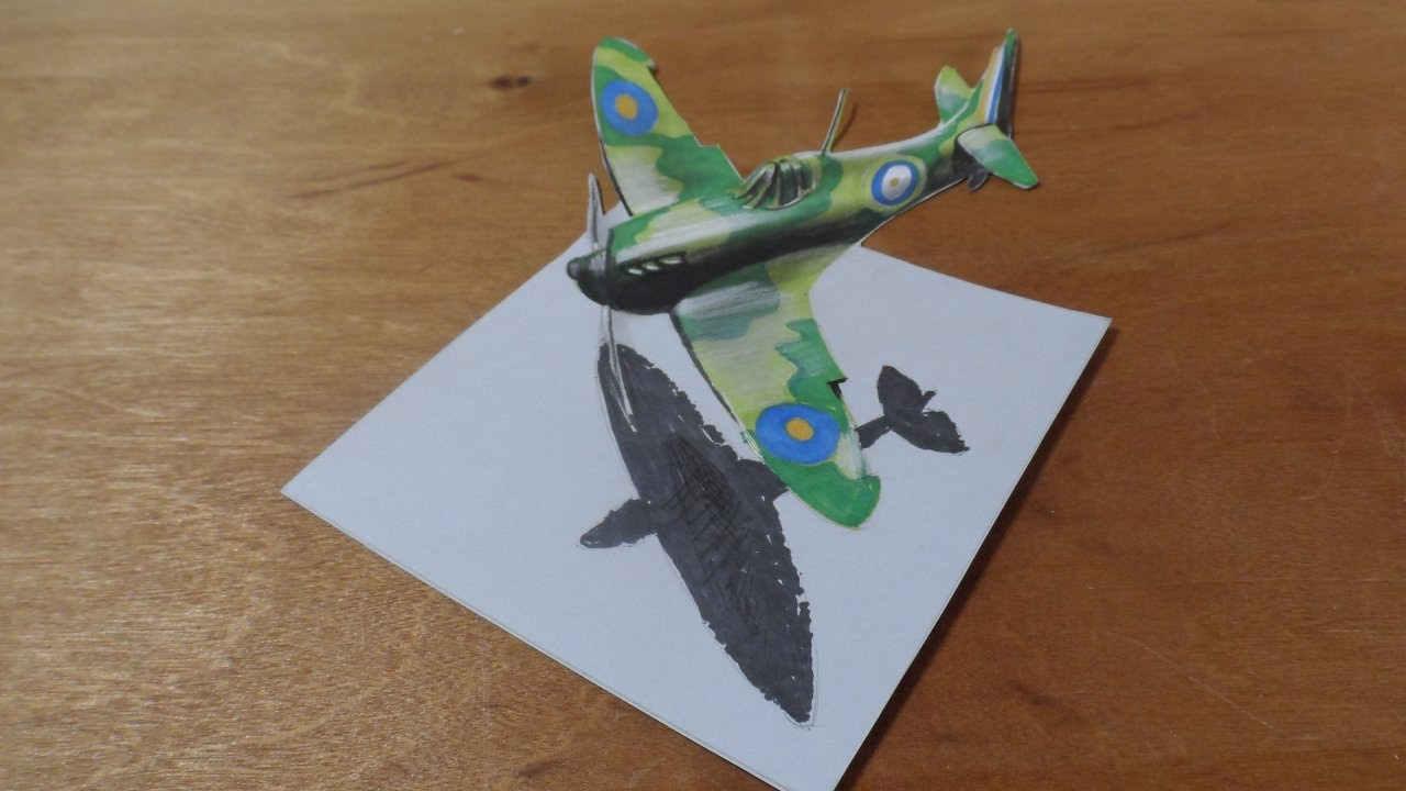 How I Draw A 3d Spitfire Airplane Flight Illusion Youtube