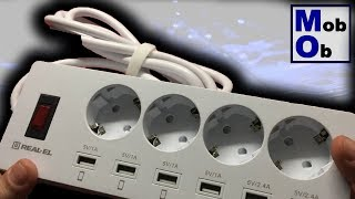 Real-EL RS-4F Charge 6 // Умный сетевой фильтр-удлинитель. Распаковка, обзор, тест, выводы