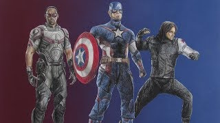 Drawing Captain America, Falcon, and Winter Soldier