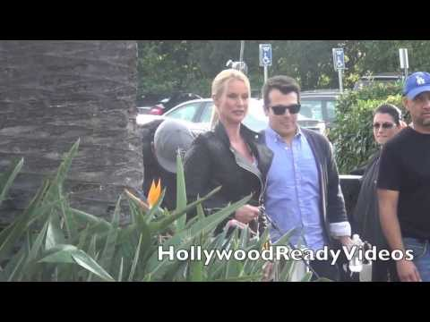 Nicollette Sheridan arrives at her Extra interview at Universal Studios in Hollywood