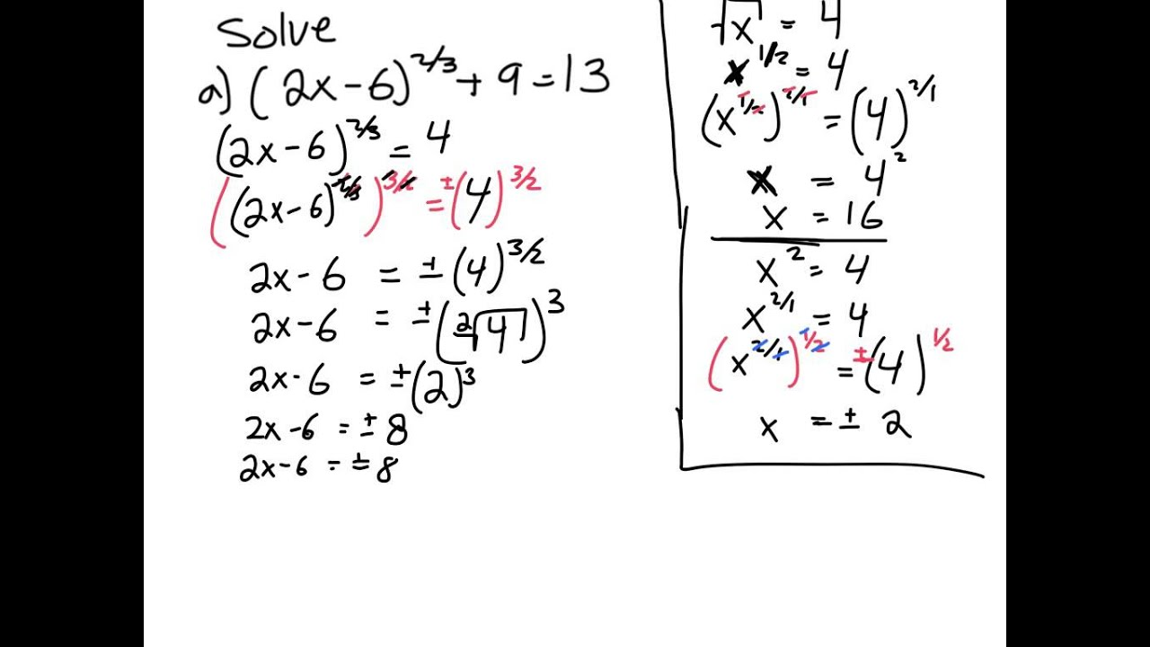 Solving Quadratic Equations With Fractional Exponents