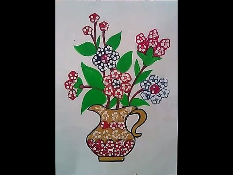 How To Draw Flower Pot Using Ladyfinger Bhindi In Less Than 5 Minutes