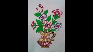 How to draw flower pot using ladyfinger ( bhindi ) in less than 5 minutes