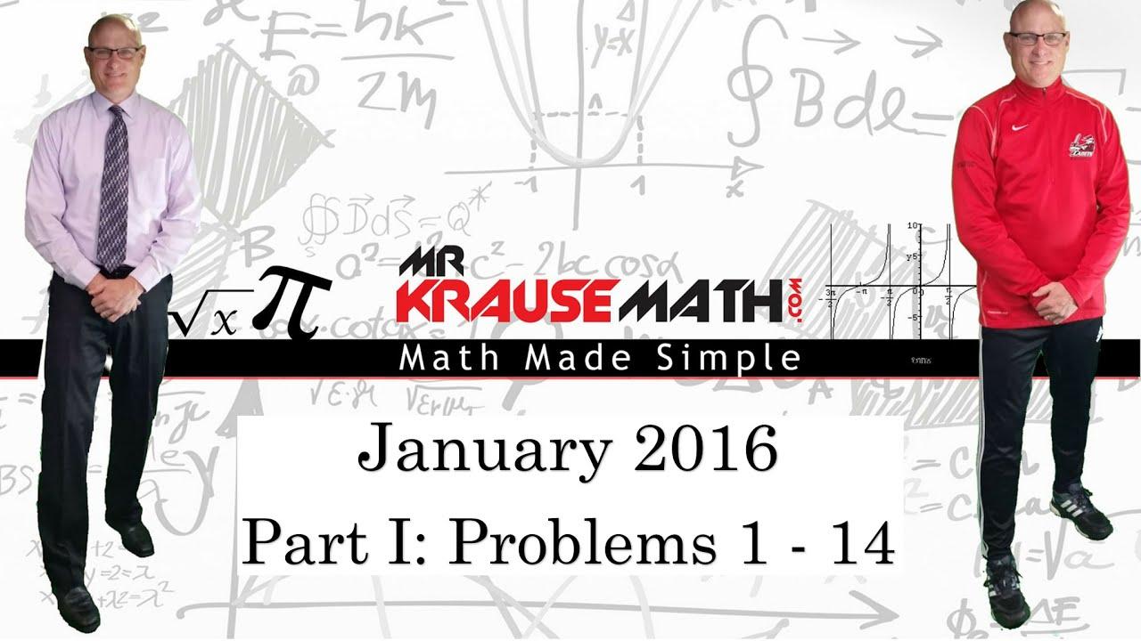 NYS Algebra 2 / Trigonometry Regents January 2016: Part 1: Problems ...