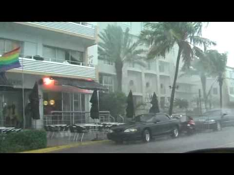 Tornado And Severe Storm In Miami South Beach 06/05/2009 - Large Hail And Flooding