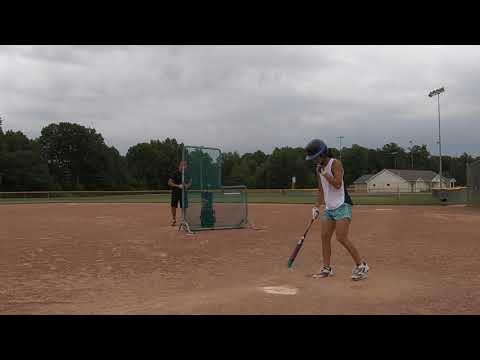 KaiLi Gross 2020 Grad Softball Hitting DINGERS w Soft Toss (Fence 220 ft in RF, CF and LF)