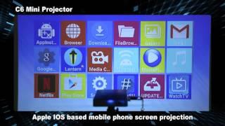 Mini Smart DLP Projector C6 Android 6 S905X 4CORE Wifi 1080P