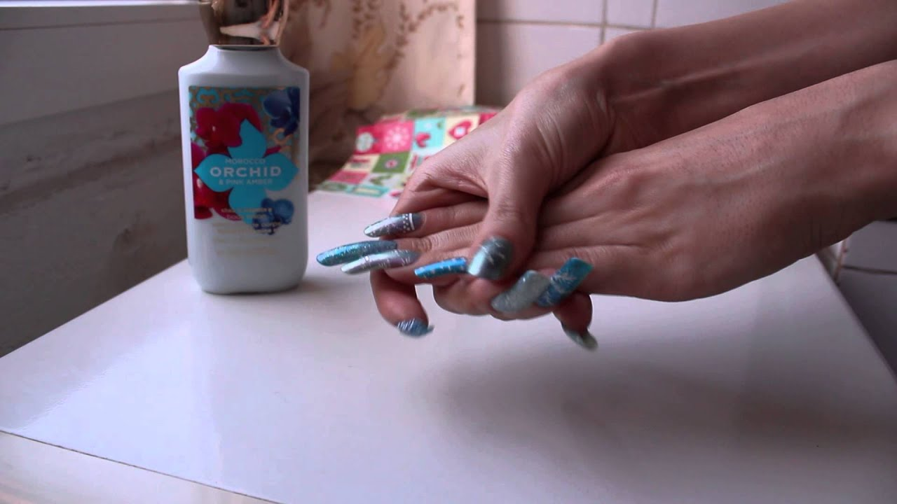 Blue Rose hands care showing her painted long nails (video 10) - YouTube