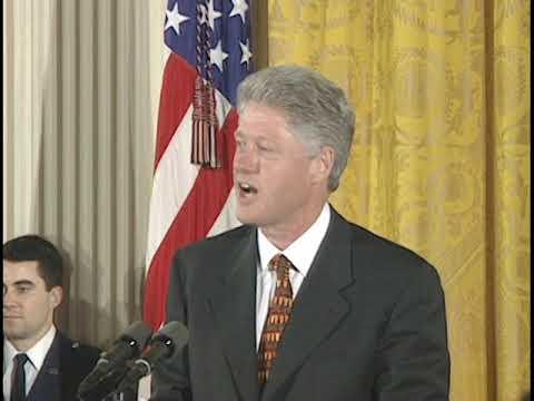 President Clinton with 1997 NCAA Football Champions