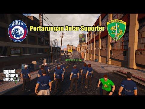 BONEK VS AREMANIA Tawuran di Stadion - GTA V MODS Indonesia