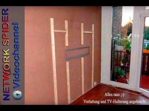 selbstbau einer fernseh led multimedia wand mit laminat youtube. Black Bedroom Furniture Sets. Home Design Ideas