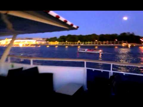 An evening boat trip on the Neva river