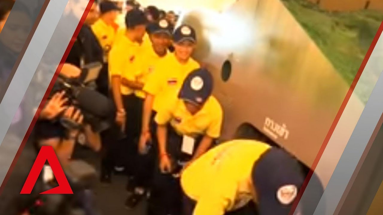 Thai cave boys visit Tham Luang rescue exhibition in Bangkok