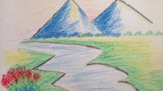 Mountain Landscape Drawing with Oil Pastel