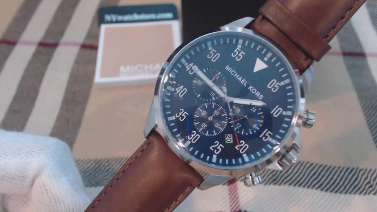 322e1fd8ddec Men s Michael Kors Gage Chronograph Leather Strap Watch MK8362 - YouTube