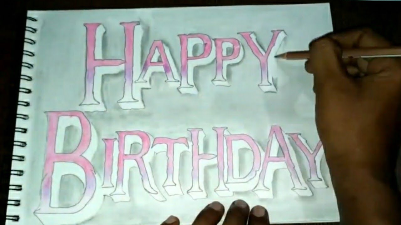 How to draw happy birthday colorful pencil name drawing