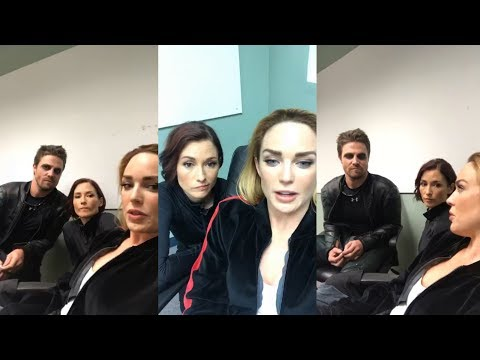 Caity Lotz with Stephen Amell & Chyler Leigh  Instagram Live Stream  18 October 2017 Backstage