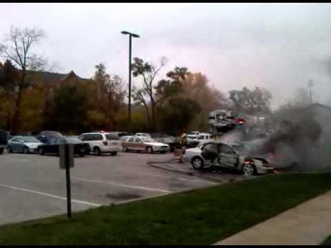 cars on fire Lindenwood university saint charles MO.
