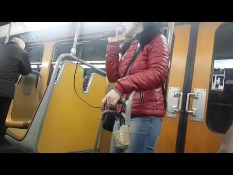 BRUSSELS - women singing in metro