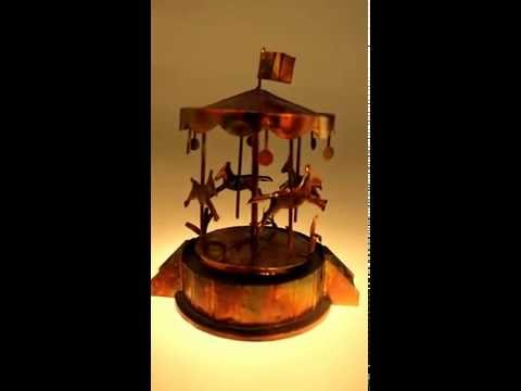 Vintage 60s 70s copper music box / carouse horse merry go round/metal
