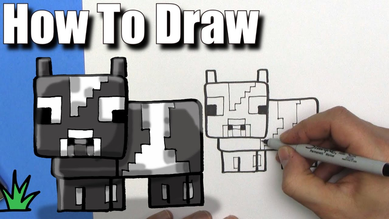 How To Draw A Cute Cartoon Minecraft Cow EASY Chibi Step By Step - Skin para minecraft pe cow