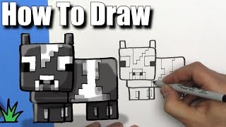 How To Draw a Cute Cartoon Minecraft Cow - EASY Chibi - Step By Step - Kawaii