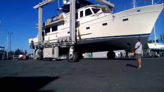 Marine Travelift Launching  a 65ft Fleming