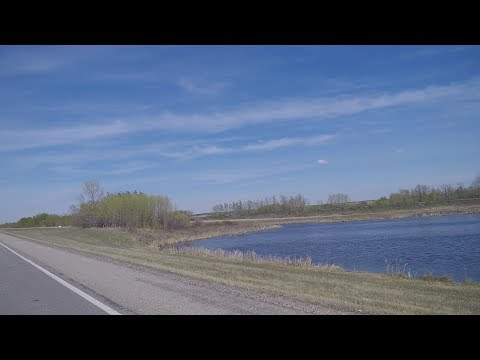 Driving In Alberta Canada. Route To Edmonton City. Scenic Drive Of Countryside.