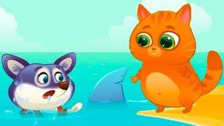 КОТЕНОК БУБУ и ПЕСИК ДУДУ #84 Мультик игра про котика и собаку. Акула укусила щенка #пурумчата