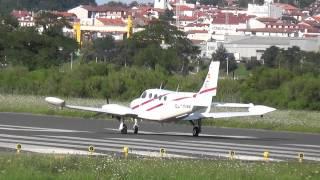 Despegue Cessna 340 (EC-HNM) desde la pista 04 de LESO