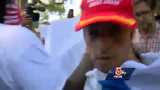 Protesters surround Trump supporters trying to enter 'Free Speech' rally