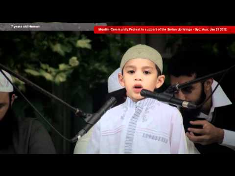 Inspiring speech by 7 year old! | Message to Muslim Ummah at protest for Syria [Sydney, 2012]