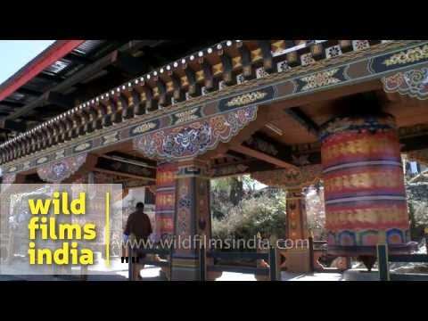 Prayer wheels in the Kyichu Lhakhang temple in Paro Valley, Bhutan
