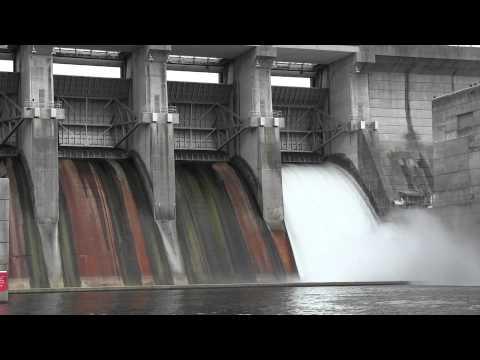 J. Percy Priest Dam Spills Water