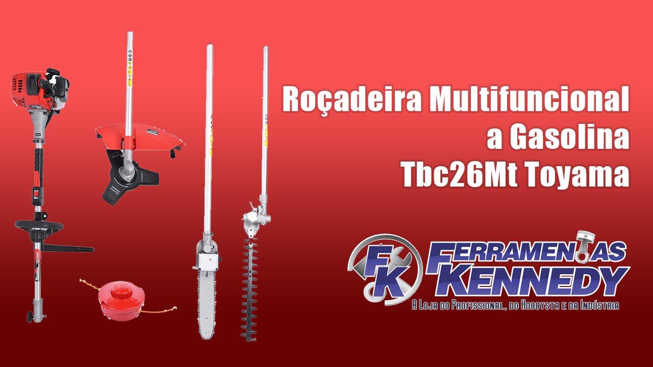 22613e441 Roçadeira Multifuncional a Gasolina Tbc26Mt Toyama na Fk - YouTube