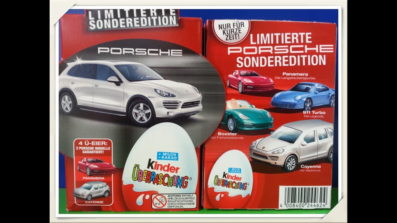 Unwrapping 8 Kinder Surprise Eggs Special Porsche Edition Series Limited 2012 Youtube