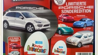 Unwrapping 8 Kinder Surprise Eggs Special Porsche Edition Series Limited 2012