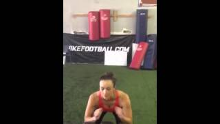 Sports Core Belt for Cell Phones WITH CiCi Jefferson doing vertical box jump
