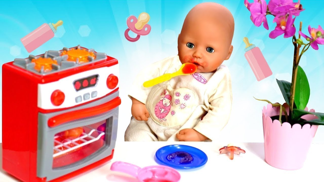 Baby Annabell doll & cooking toy food for baby doll & baby doll feeding time.