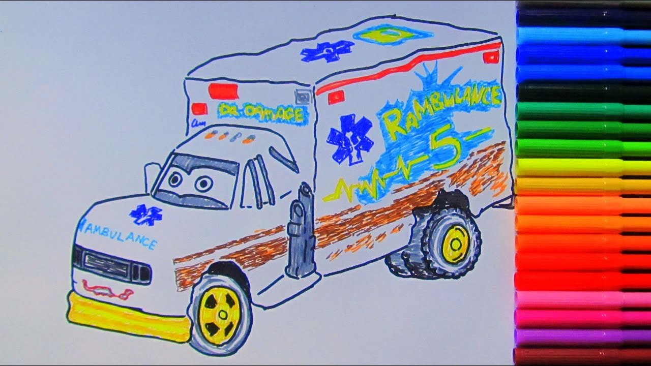 How To Draw And Color Dr Damage Ambulance Car From Cars 3 2017