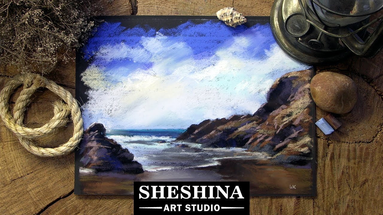 How To Draw A Rocky Coast By The Sea With Soft Pastels