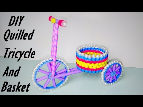 Quilled Tricycle And Basket | DIY Paper Cycle |