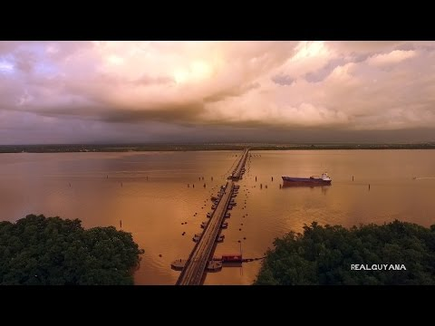 Real Guyana Drone  - The Demerara Harbour Bridge Retracts